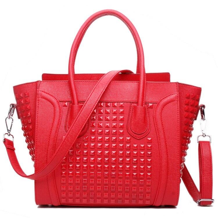Women  Designer Celebrity Leather Smile boat nail  Studded Handbag Shoulder Satchel Hand Bag Styles сумка 2015 2015 designer handbag satchel women leather handbags