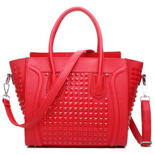 Women  Designer Celebrity Leather Smile boat nail  Studded Handbag Shoulder Satchel Hand Bag Styles