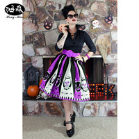 2016 New Arrival Women Skirt Orange Purple Skeleton Print Halloween Skirts Womens Midi Skirt Faldas Largas
