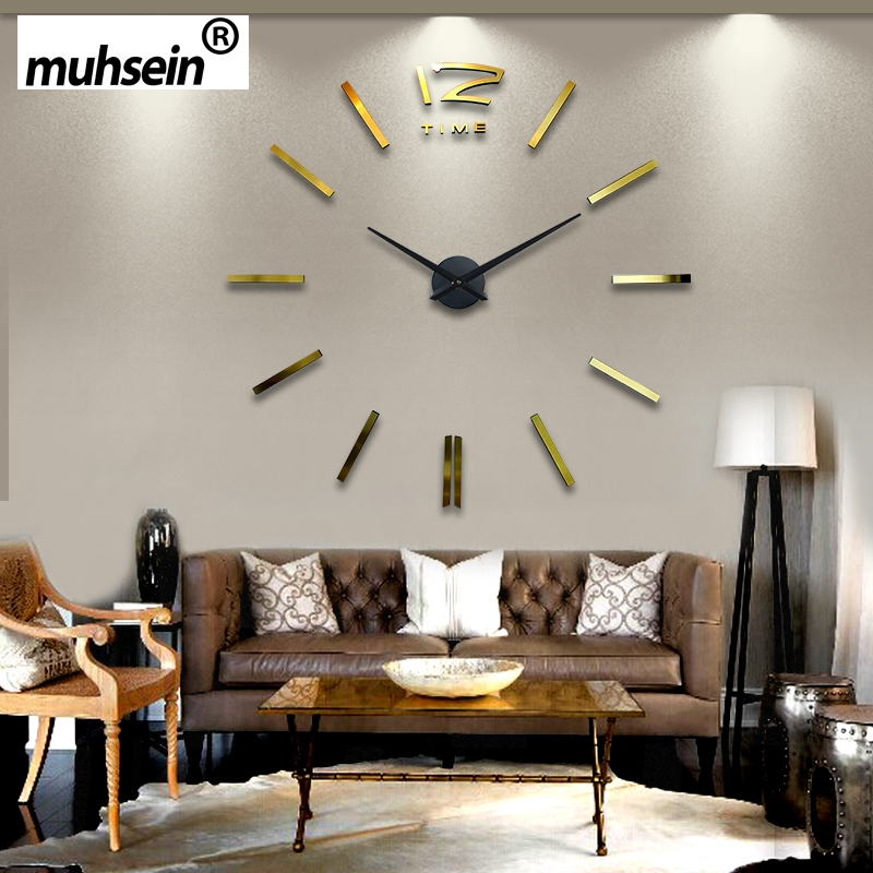 2016 New Gold color Freeshipping fashion 3D big size mirror sticker DIY wall clocks home decoration