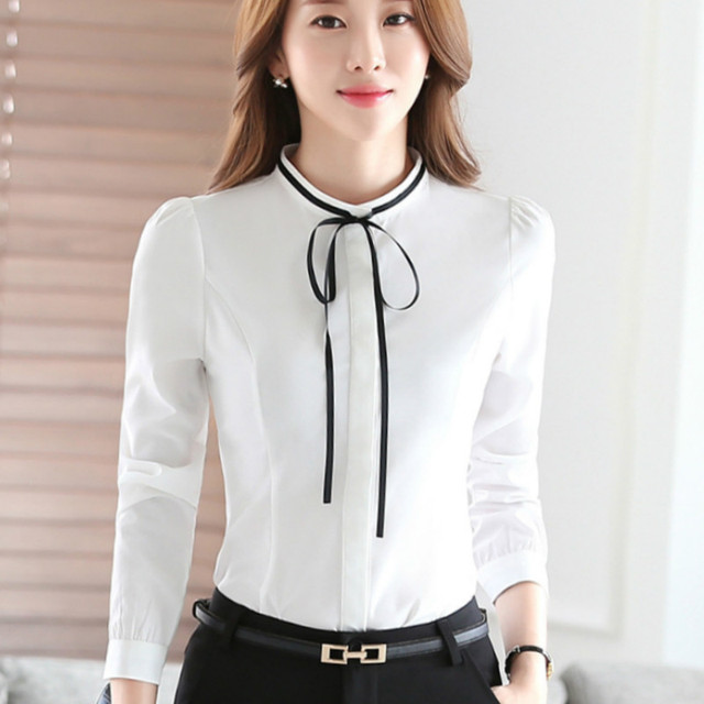 2016 Autumn long sleeve white shirts women bow tie blouses lady work wear  office black blouses elegant white tops bow body shirt fb55cc59a