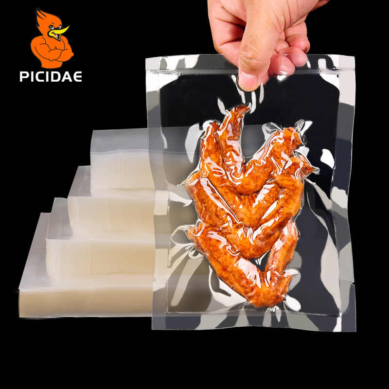 0.16mm A Grade Vacuum Clear Cooked Food Saver Packaging Bags Meat Snacks Tea Hermetic Storage Heat Sealing Plastic Package Pouch