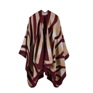 Image 2 - 2019 nuevas bufandas de Invierno para mujer, Ponchos y capas de Cachemira, moda femenina, Pashmina, chal tejido, capa de manto, estolas