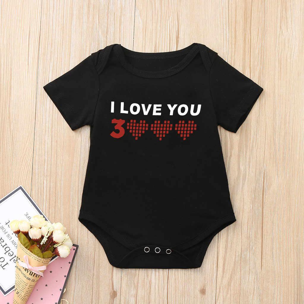 3000 топы с принтом «I Love You» для маленьких мальчиков и девочек, боди, одежда новый дизайн, удобная черно-белая детская одежда, Erkek Bebek Tulum