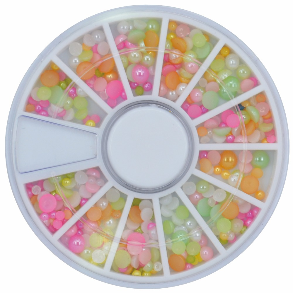 ZKO 1 Wheel 12 Colors Nail Rhinestones Acrylic 3D Diy Design Biutee Nail Art Decoration Half Round Pear #ZH70