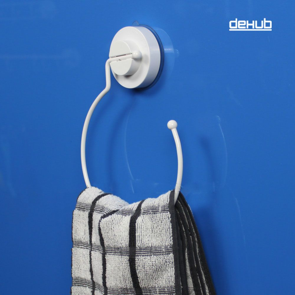 Dehub Super Suction Cup Towel Ring Bathroom Hand Towel Holder Round Towel Ring Bathroom Accessories White in Bathroom Accessories Sets from Home Garden