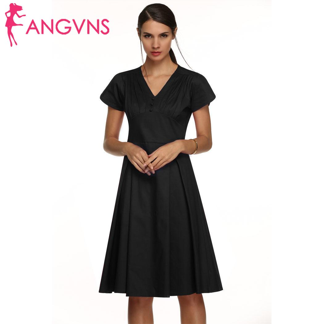 ANGVNS Vintage Women Fashion WOMEN LOVE Pleated Dress Sexy ACEVOG Style High Waist Solid