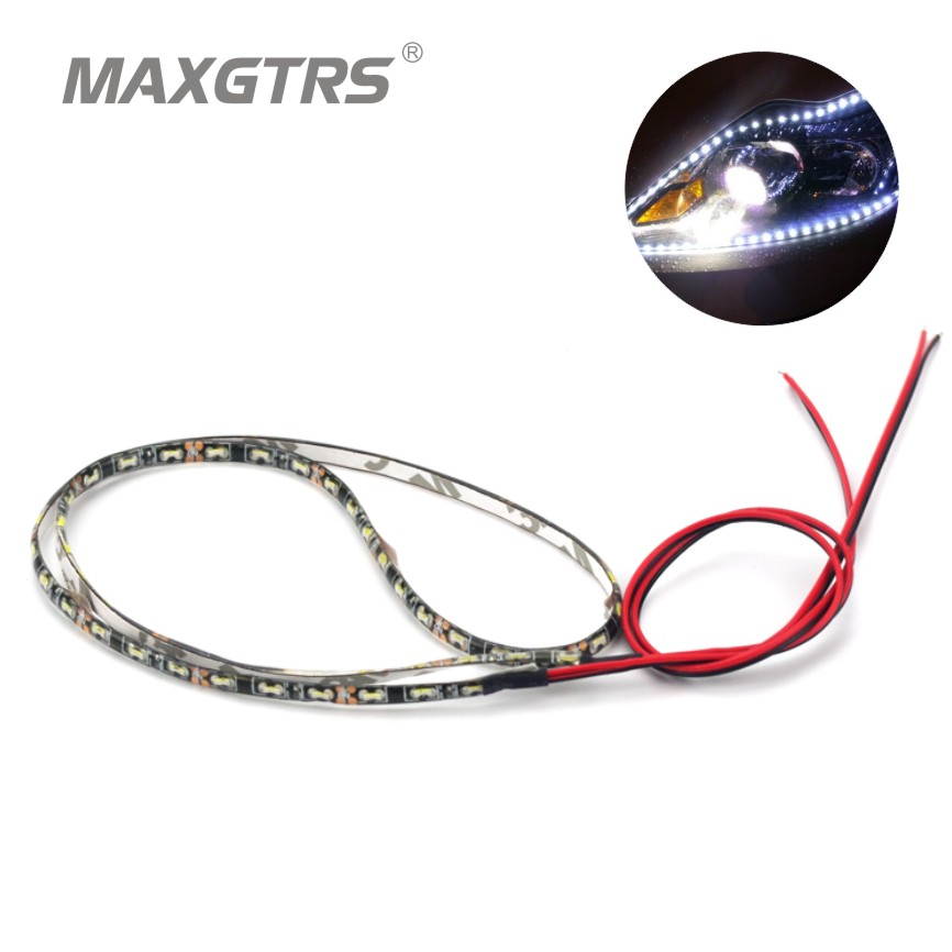 4Pcs/Lot 60cm Waterproof Light 335 30/60 SMD Side Shine Car Flexible LED Strips Auto DRL Decorative Lamp Daytime Running Light flexible 3w 132lm 6 smd 5050 led white car decorative daytime running light 12v 2 pcs