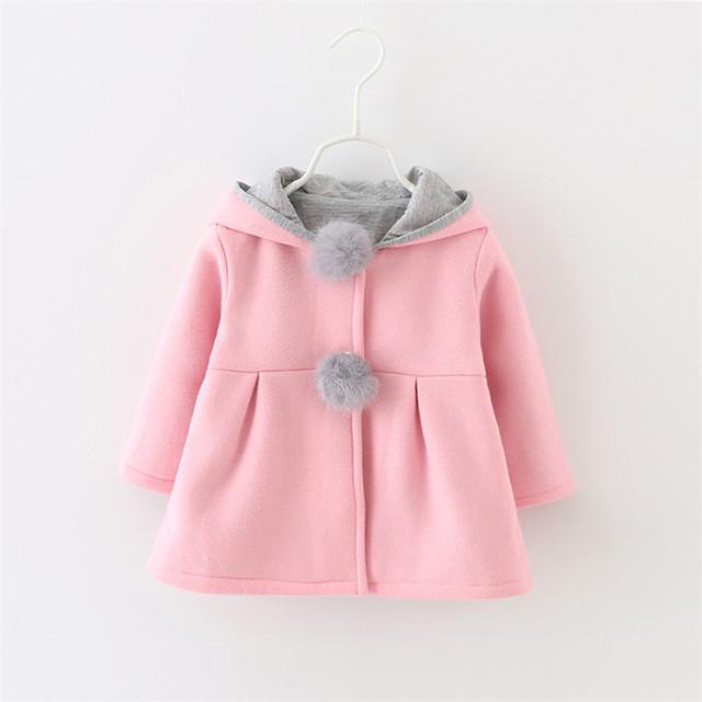 Nova moda bebê meninas roupas top bonito da orelha de coelho do bebê menina casaco de inverno quente crianças outwear meninas do bebê encapuzados trincheira jaquetas
