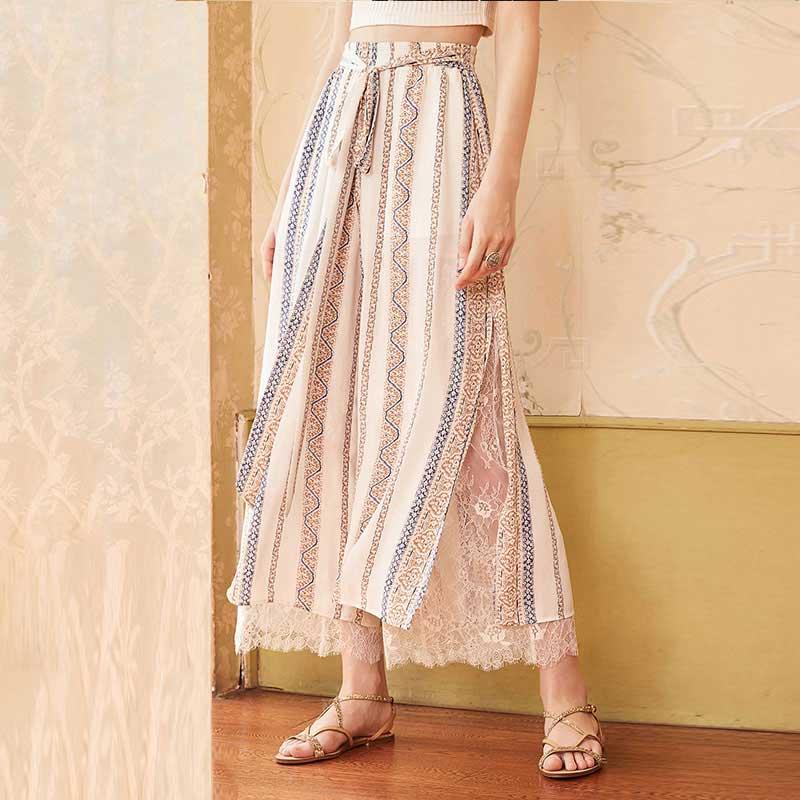 ARTKA 2018 Autumn New Women Loose Lace Stitching Printed High-waist Drawstring Side Split Chiffon Wide Leg Pants KA15082X