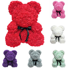 25cm Bear of Roses Valentines Day Gift Artificial Flowers Home Wedding Festival DIY Decoration Box Wreath Craft