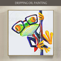 Professional Artist Hand Painted High Quality Funny Frog Oil Painting On Canvas Modern Animal Oil Painting