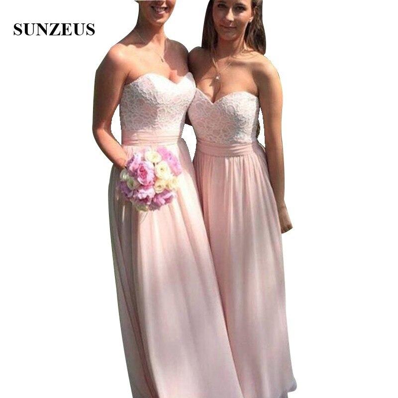 A-line Sweetheart Lace Bodice   Bridesmaid     Dresses   Long Pink Chiffon Women Party Gowns vestido longos