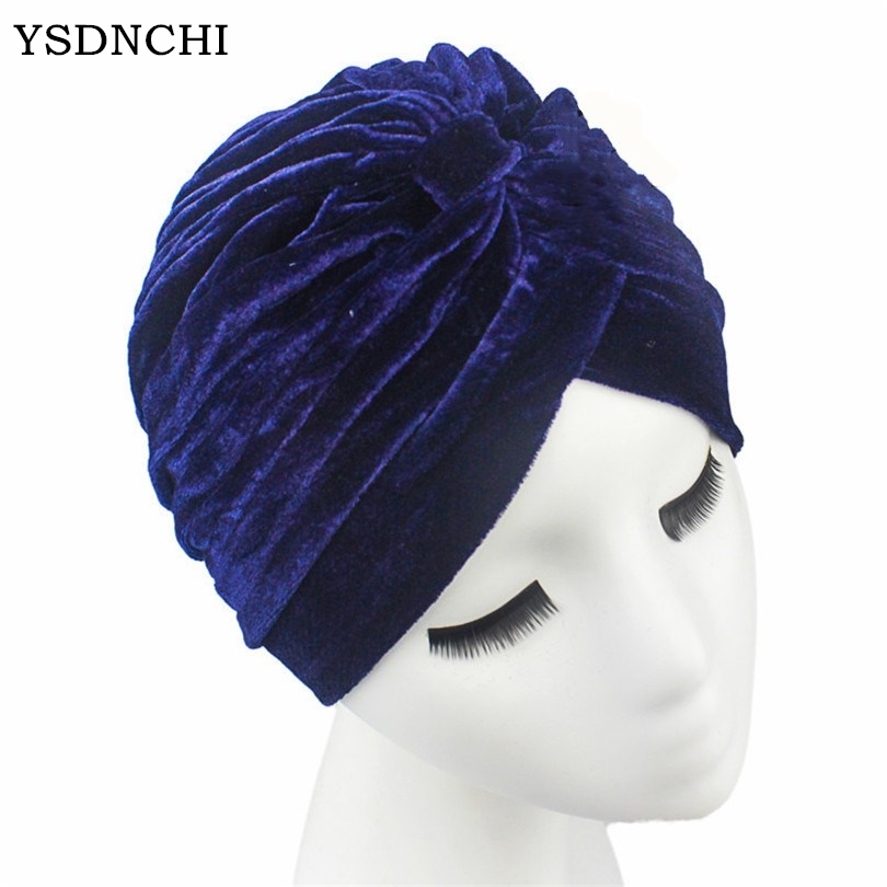 YSDNCHI Multicolor Thick Muslim Head Hat Protect Ear Gold Velvet Warm India Hats High Quality Fashion Winter Women Caps