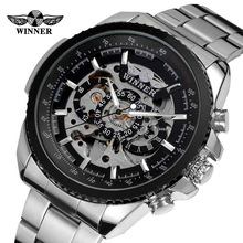 New Skeleton Display Automatic Mechanical Watch Silver Bracelet Wristwatch  Auto Self winding Sport Watches For Men