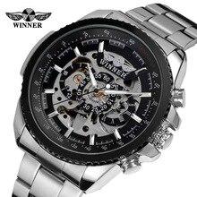 Nuevo reloj mecánico automático con pantalla de esqueleto, reloj de pulsera de plata, reloj deportivo automático para hombre