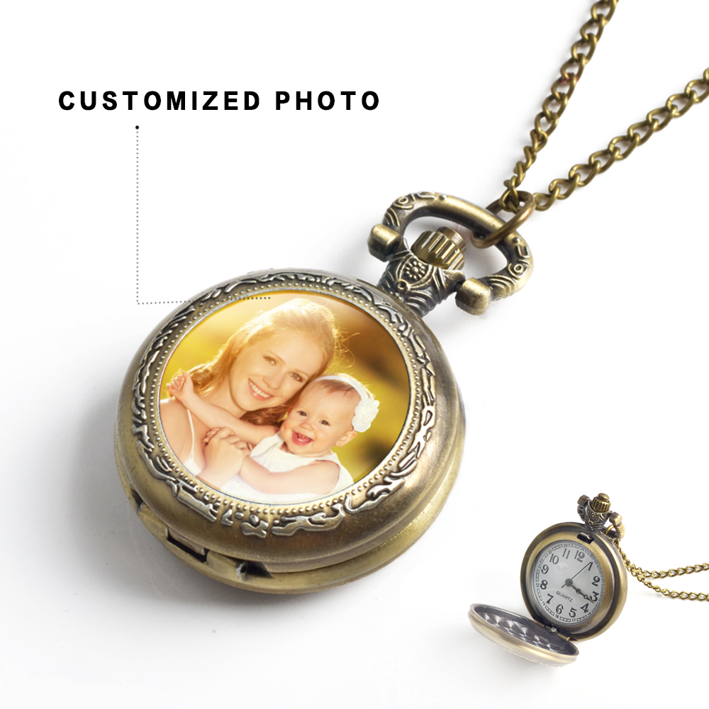 Vintage Customized Photo Pocket Watch Antique Design Baby Family Lovers Grandma Photo Calendar Pocket Watch Chain For Gifts