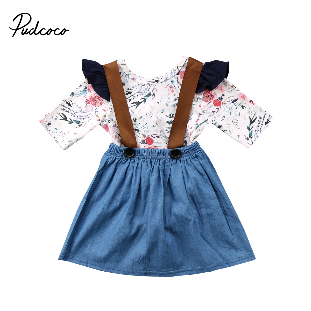 2pcs Kids Baby Girls Flying Sleeve Floral Rompe Tops+Suspender Dress Overalls Outfits Autumn Toddler Clothing 1-6T