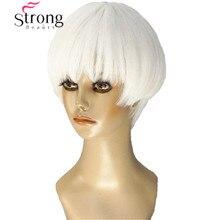 StrongBeauty Korte Zachte Witte Blonde Pruik warmte freindy Synthetische Volledige Pruik voor Vrouwen
