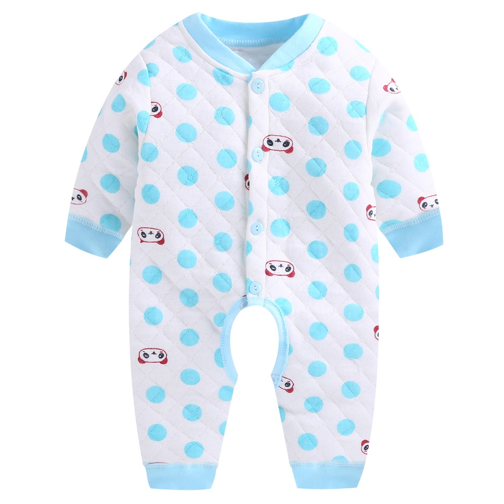 2daf68d68 2018 Fashion Baby Rompers Winter Warm Quilted Long Sleeve One Pieces ...