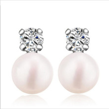 Everoyal Trendy Pearl Stud Earrings Girls Crystal Jewelry Fashion Silver 925 Sterling Earrings For Women Party Accessories стоимость