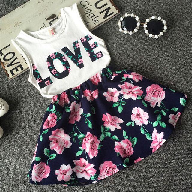 7e202e94f231 Summer Children Cute Suit 2016 Kids Baby Girls Outfits T Shirt Tops+Floral  Skirt Clothes Set