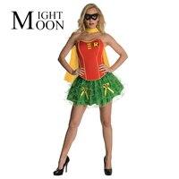 Moonight пикантные женские Superwomen Косплей Костюм для взрослых без бретелек Мини платье Wonder Woman супергероя Хэллоуин с накидкой