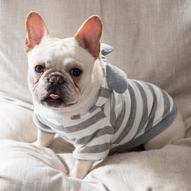 2018 Calda Estate Pet Vestiti Del Cane per Cane Carino Strisce pigiami Bulldog F