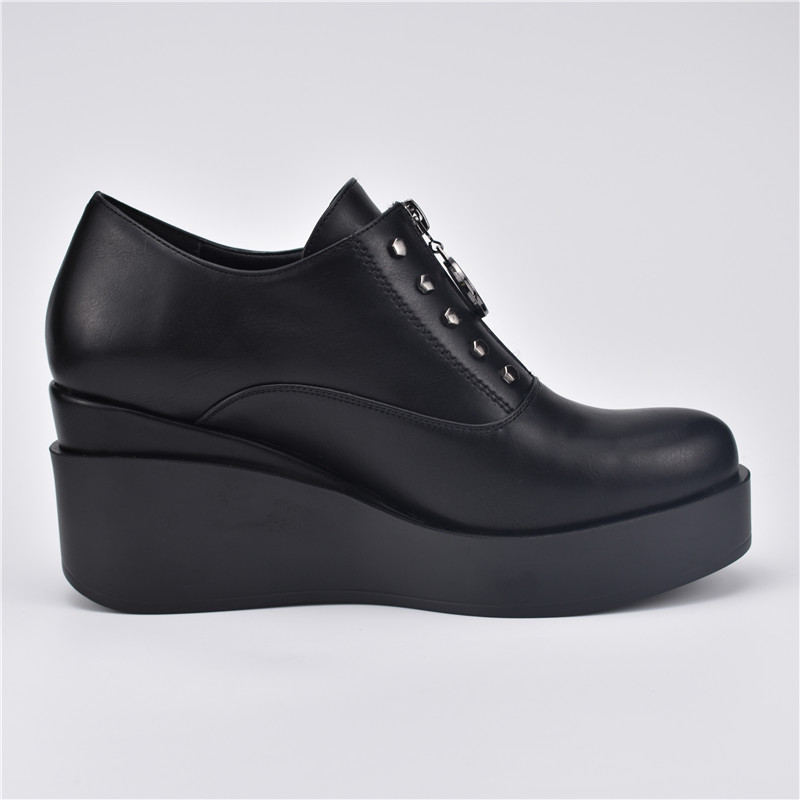 Femmes Flock Pompes Casual Printemps Talons Plate Automne Épaisse forme Hauts Pu Semelle Haute Zip Dames À Mode Chaussures black Qualité Wedge Black Rivet Odetina gpY0qnw