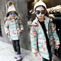 2017 autumn winter new Korean girls green floral winter coats with fur collar hooded medium long cotton jacket