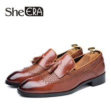 купить Size 37-48 Hot Sell New Fashion Men Tassel Loafers Genuine Leather Formal Shoes Dress Shoe Simple Slip On Man Casual Footwear дешево