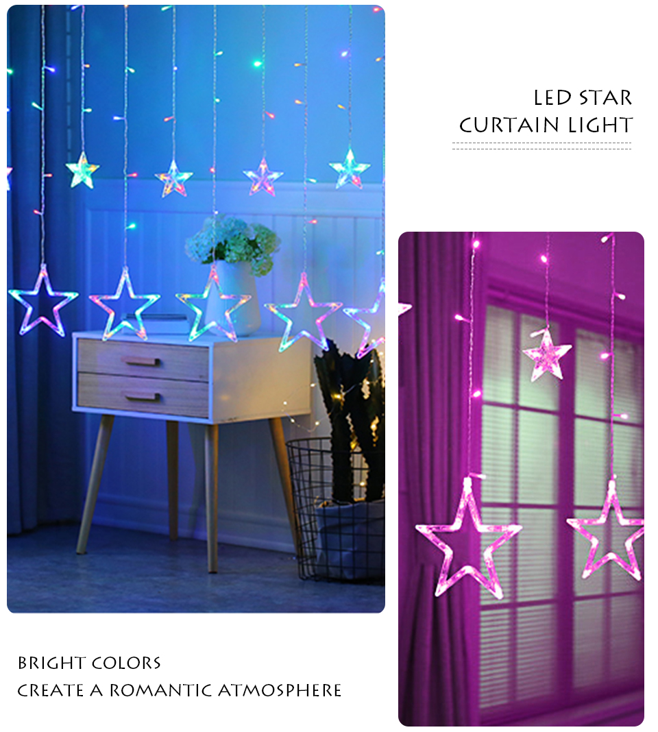 220V LED Holiday String New Year Pentagram Star Curtain Light Fairy Wedding Birthday Christmas Lighting Indoor Decoration Light (9)