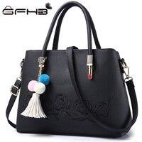 Embroidered Flower Louis Handbag Women Handle Tote Bag Lady Bayan Canta 2017 Fashion Leather Tassel Design