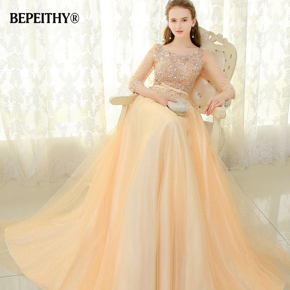 BEPEITHY Scoop Gold Long   Evening     Dress   Party Elegant Full Sleeves 2016 Robe De Soiree Beaded Vintage Prom   Dresses   With Belt 2019