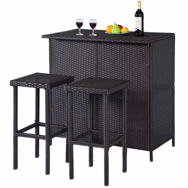 GOPLUS 3PCS Rattan Wicker Bar Set Patio Outdoor Table & 2 Stools Furniture  Brown HW52108 - GOPLUS 3PCS Rattan Wicker Bar Set Patio Outdoor Table & 2 Stools