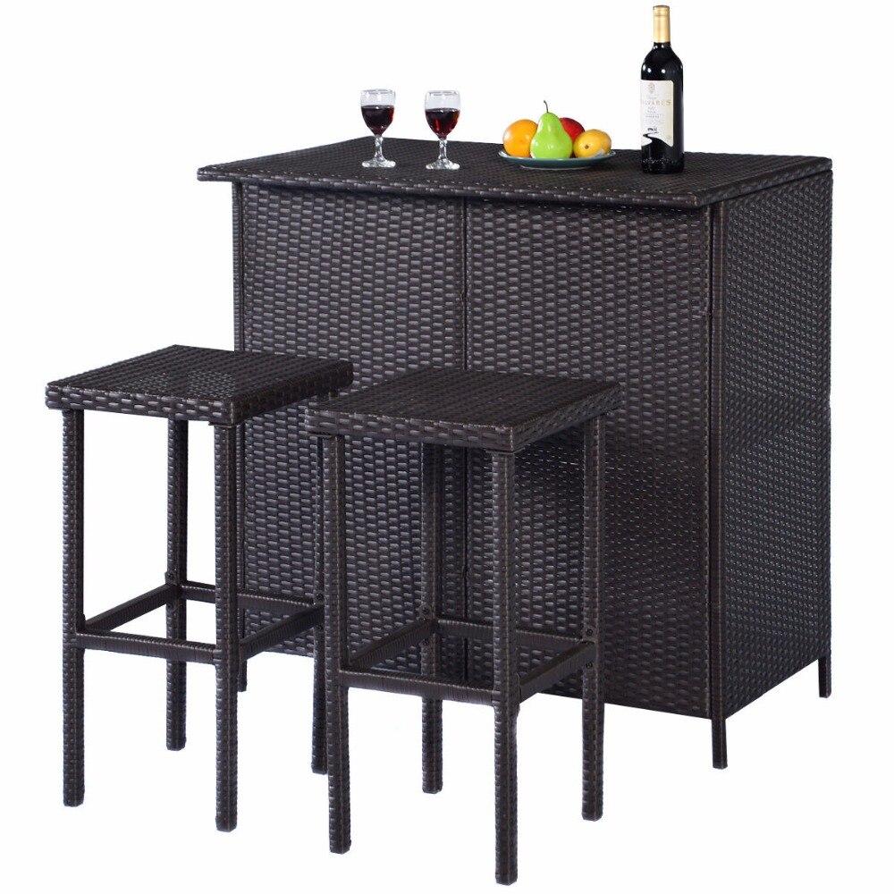 goplus 3pcs rattan wicker bar set patio outdoor table u0026 2 stools furniture brown hw52108
