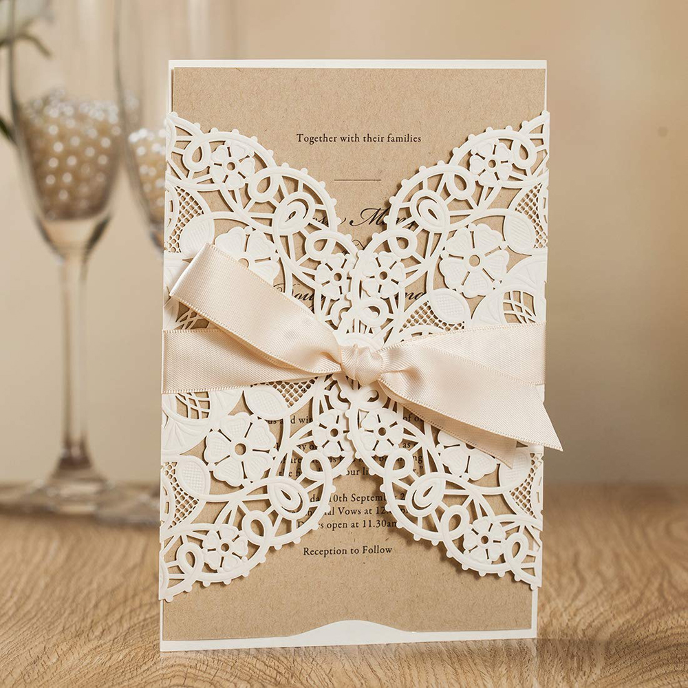 WISHMADE Laser Cut Wedding Invitations with White Navy Blue Floral Invites Cards for Birthday Engagement Bridal
