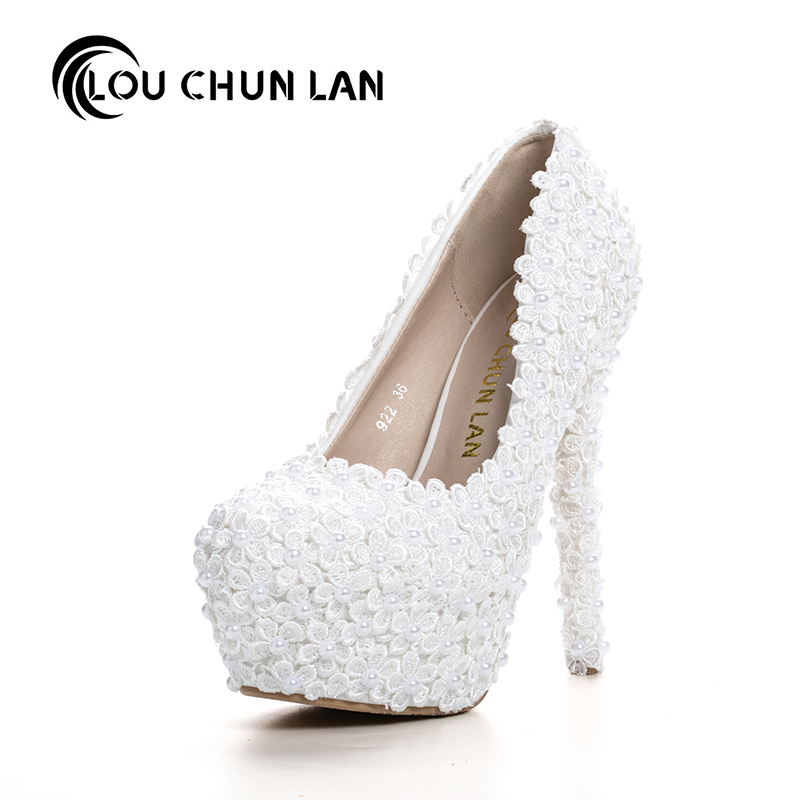 Pumps White Lace Bridal Shoes Pearl Flower Formal Dress Shoes Round Toe shallow mouth Thin Heels Wedding Shoes Ultra High Heels rhinestone wedding shoes ultra high heels thin heels wedding shoes aesthetic pointed toe formal dress shoes sandals