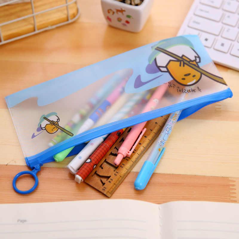 Kawaii gudetama كسول بيضة شفافة كيس قلم رصاص للفتيات لطيف التعبير statioery الحقيبة مكتب اللوازم المدرسية