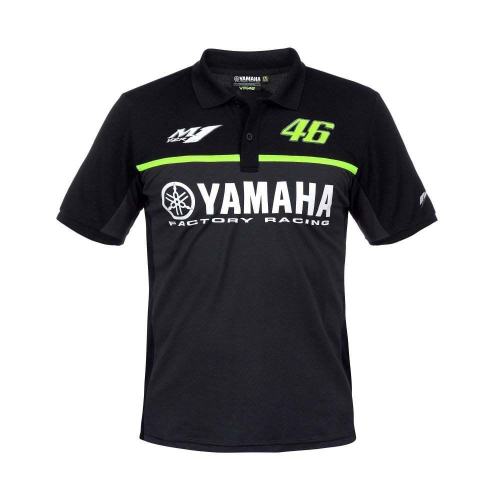 2017 Moto GP VR46 Valentino Rossi per Yamaha Team 46 Polo MENS Il Medico di Cotone Nero T-Shirt