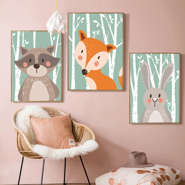 Rabbit Bear Fox Minimalist Cartoon Animal Art Canvas Poster Painting  Nursery Picture Print Modern Home Children