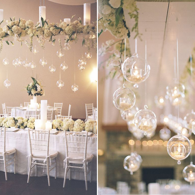 10pcs Gorgeous Hanging Glass Terrarium Hang Over Flower Vase Bubbles  Hanging Candle Holders For Wedding Home