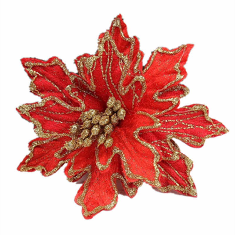 New Arrival 10pcs Lot 15cm Red Glitter Artificial Christmas Flowers Poinsettia Cheap Christmas Ornaments