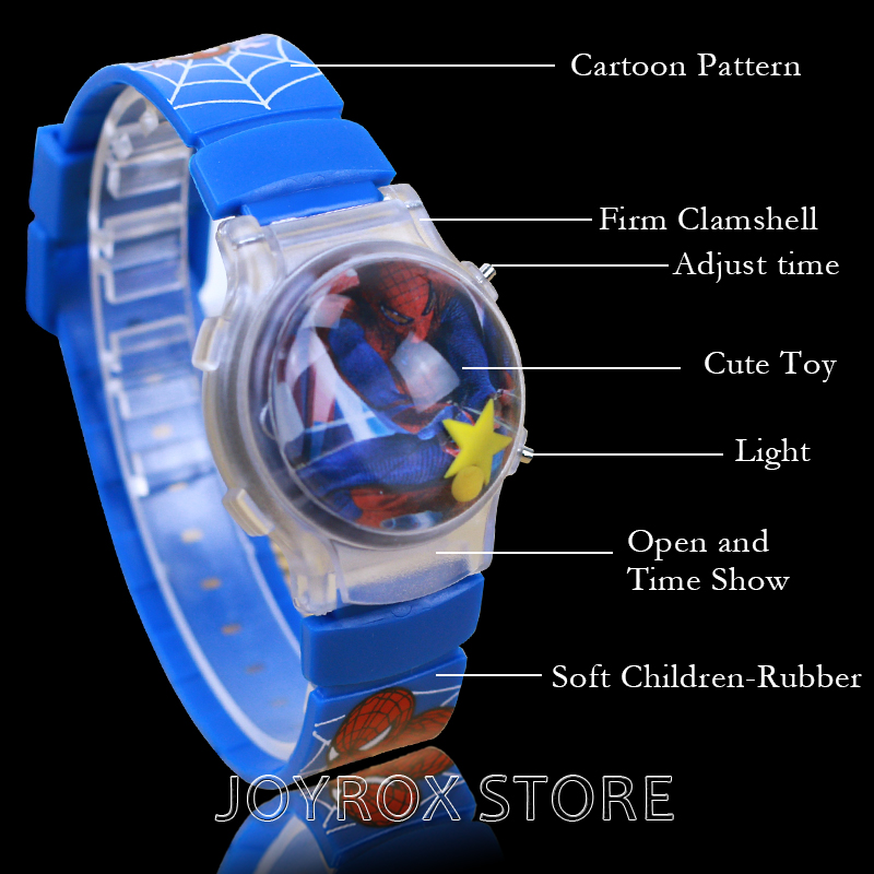 JOYROX LED Silikon Barn Klocka Clamshell Jelly Digital Armbandsur Hot Cartoon Gummi Band Girls Boy Kids Fashion Clock
