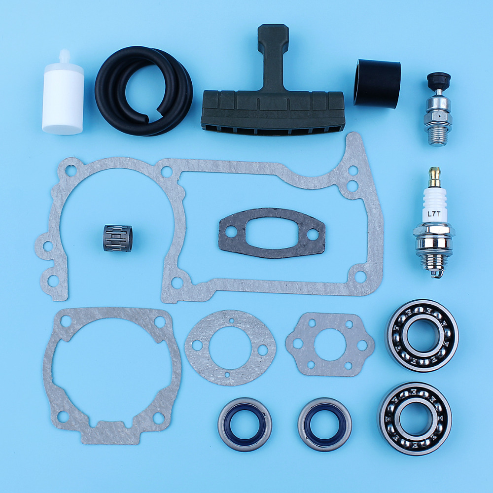 Crankshaft Bearing Oil Seal Decompression Valve Gaskets Set For Husqvarna 51 55 254 257 Chainsaw Fuel Line Filter Handle Grip