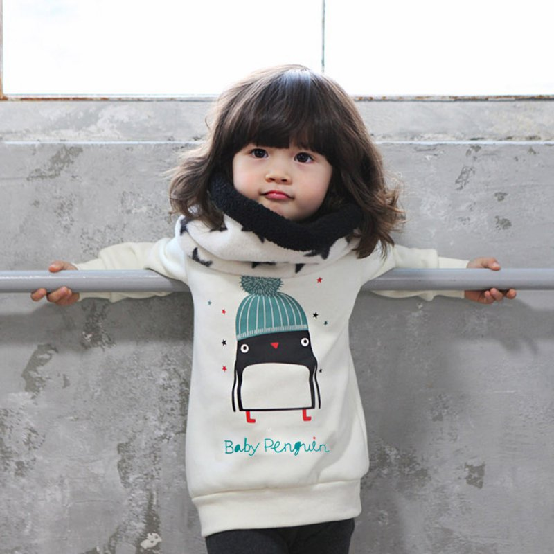 Kids Clothes Baby Girl Cute Long Sleeve Pullover Autumn Winter Warm Penguin Pattern Thicken Sweatshirt Hoodies 0-3Y Free Ship