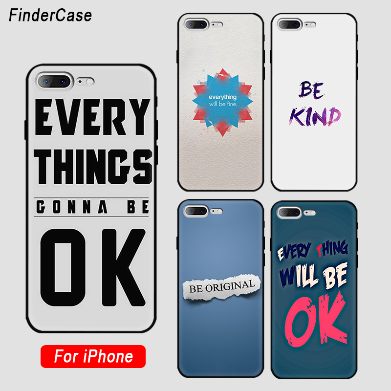 Findercase Case For Iphone X Everything Will Be Ok Quotes Patterned