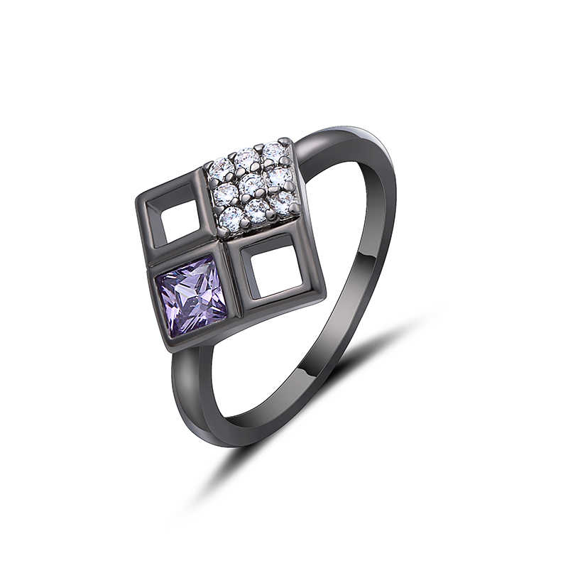 2019 เรขาคณิตสีชมพูแหวนคริสตัล Rose สีดำ/เงินสีออสเตรียคริสตัลแหวน 6-10 ขนาดขายส่งแหวนกลวง