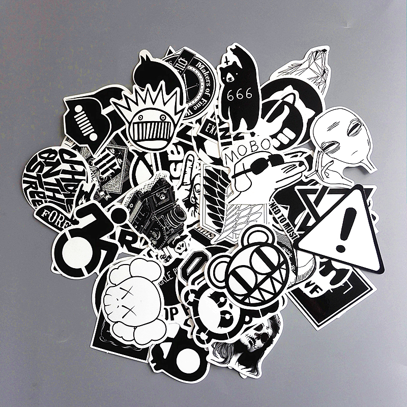 Td Zw 60pcs Lot Mixed Black And White Stickers Toy Styling