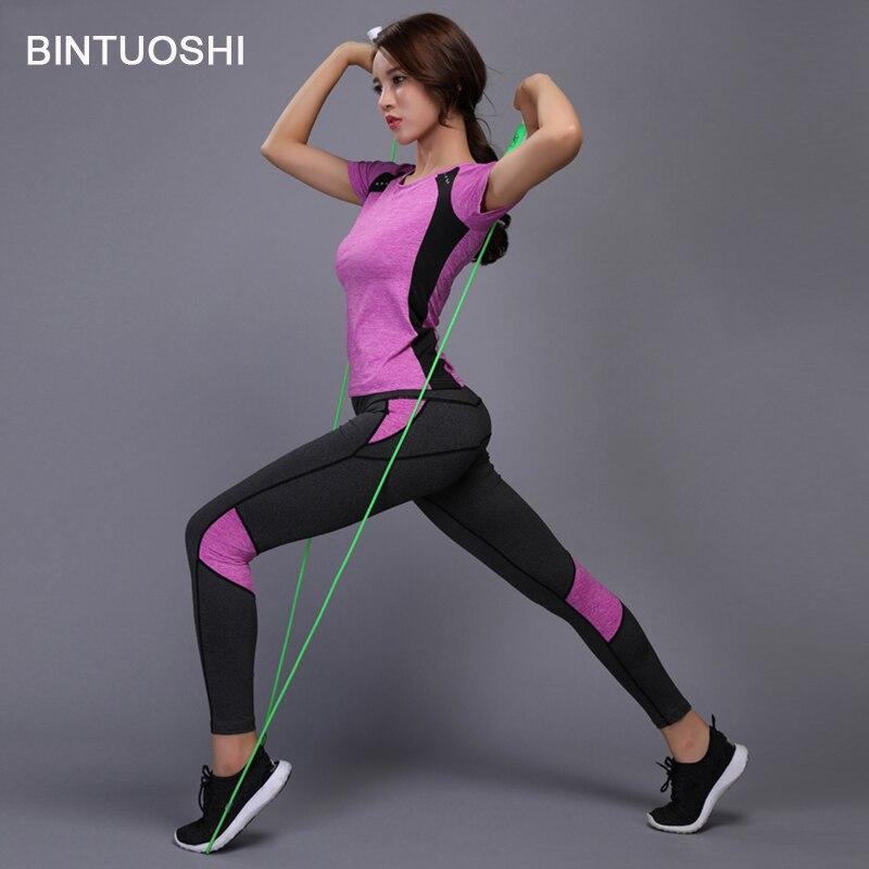 BINTUOSHI Donne Set Yoga Palestra Vestiti di Fitness Ping Pong Shirt + Pantaloni Corsa e Jogging Stretto Jogging Allenamento di Yoga Leggings Vestito di Sport plus formato